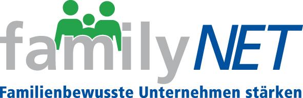 Das Bild zeigt das Logo von familyNet mit einem Schriftzug und einer symbolischen Familie.