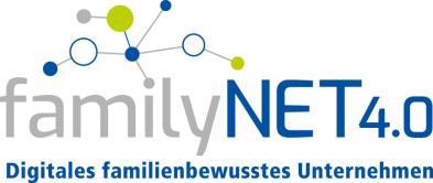 Das Bild zeigt das Logo familyNET 4.0 mit einer symbolischen Vernetzung und dem Satz Digitales familienbewusstes Unternehmen.