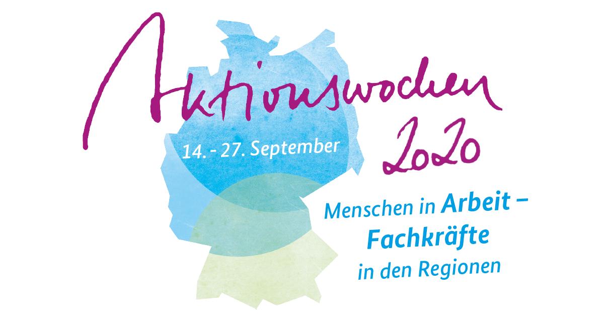 """Das Bild zeigt das Logo der Aktionswochen zur Fachkräftesicherung. Abgebildet ist Deutschland in seiner Landesform, der Schriftzug Aktionswochen 2020, das Datum 14. - 27. September, sowie der Claim """"Menschen in Arbeit - Fachkräfte in den Regionen"""""""