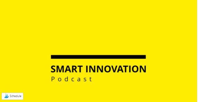 Das Bild zeigt den Schriftzug Smart Innovation Podcast auf gelben Hintergrund.